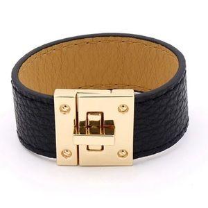 Jewelry - Black V Leather Cuff Bracelet with Gold Hardware
